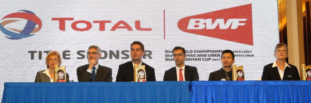 BADMINTONscotland chief executive Anne Smillie, Bertrand de La Noue, Poul-Erik Høyer, Stéphane Lagrue, Kunshan Sport Bureau deputy director Sun Lieping and BWF Oceania vice-president Geraldine Brown answer questions from the media