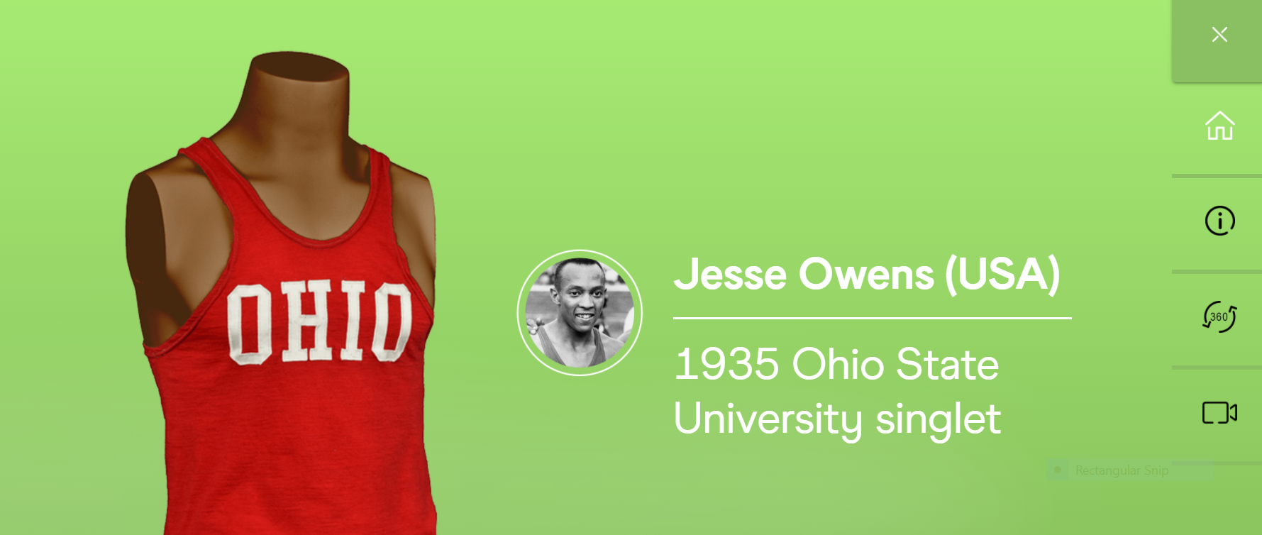 The singlet Jesse Owens wore when setting three world records and equalling a fourth in the space of 45 minutes in 1935 is one of the prized exhibits in the new virtual Museum of World Athletics ©MOWA