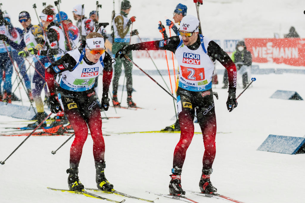 Norway's Johannes Thingnes Bø and Sturla Holm Lægreid are set to battle it out for the title in Östersund ©Getty Images