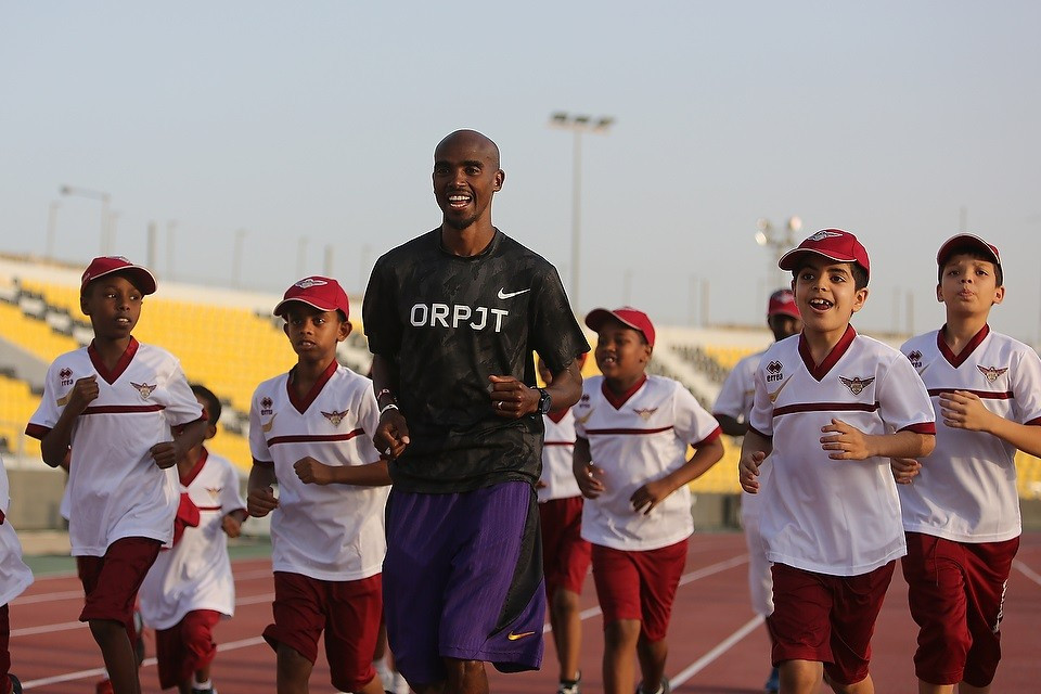 Britain's Mo Farah held a training session for aspiring young athletes prior to the first Diamond League event of the season