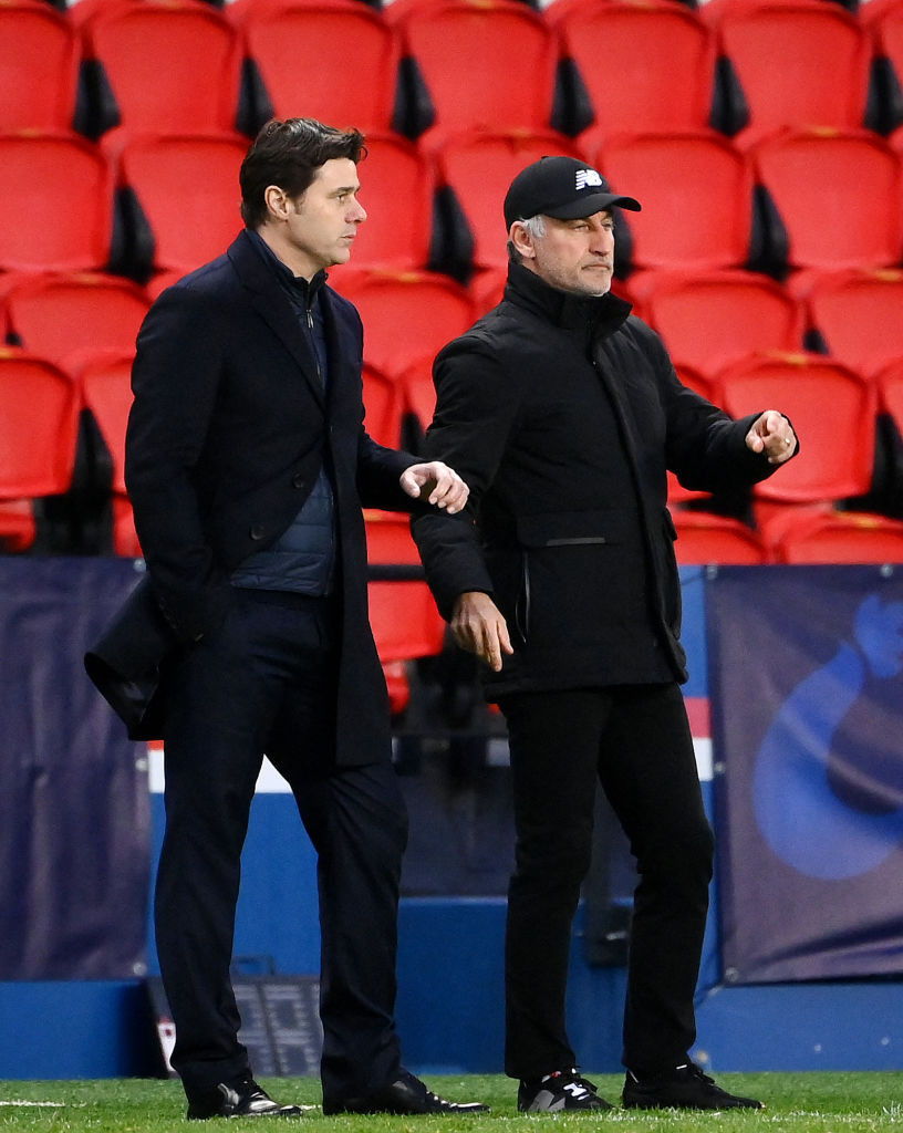 Paris St Germain coach Mauricio Pochettino, left, was dismayed by the late change of policy announced by the French Sports Ministry ©Getty Images