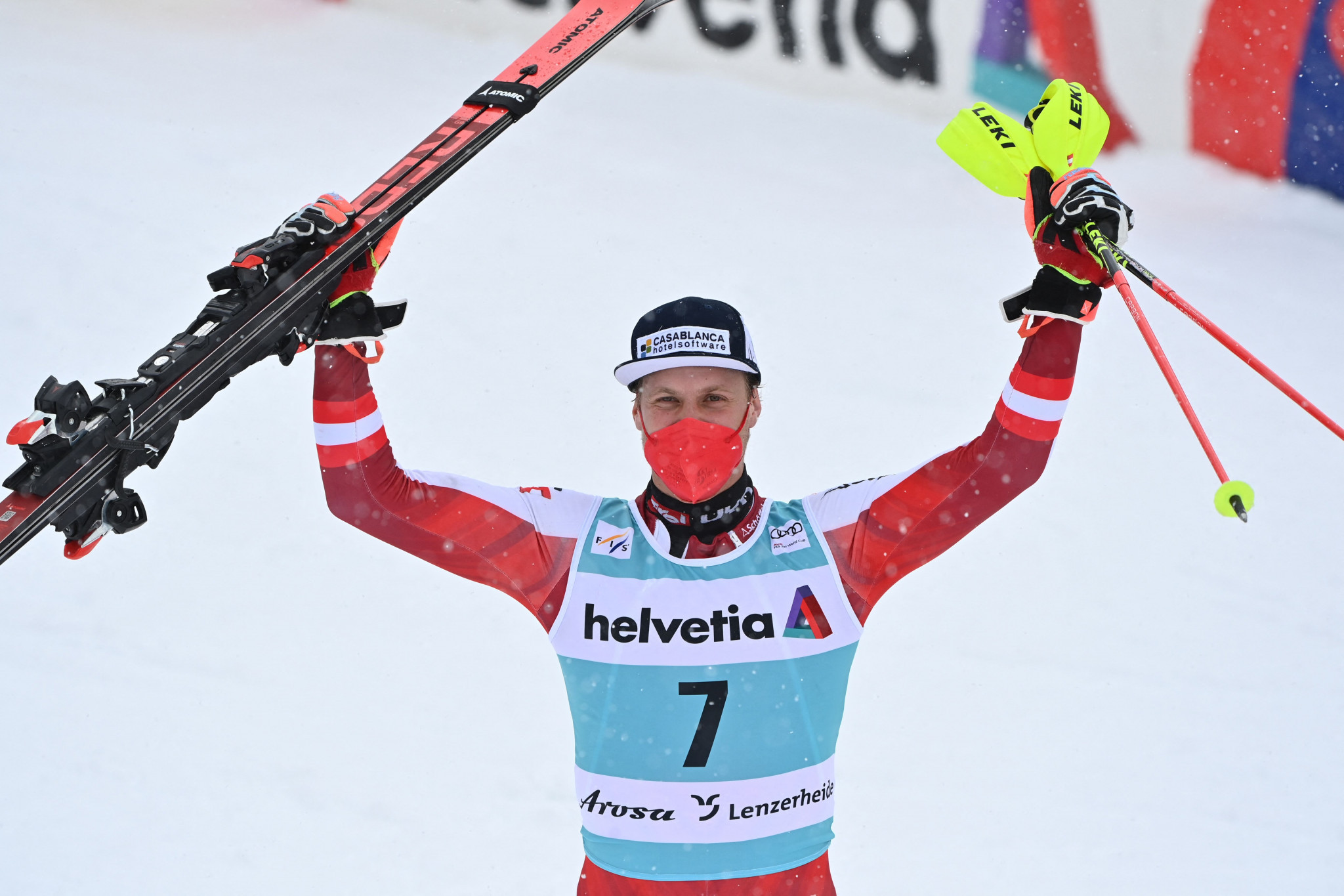 Austria's Manuel Feller stormed to slalom victory in the final race of the season ©Getty Images