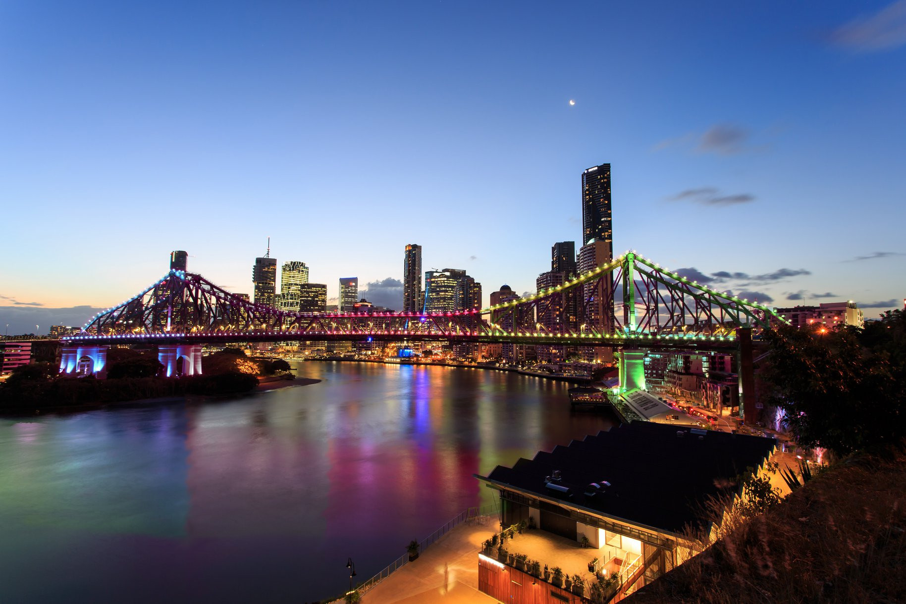 Lights on Brisbane's bridges were lit up in celebration last month after the city was accorded