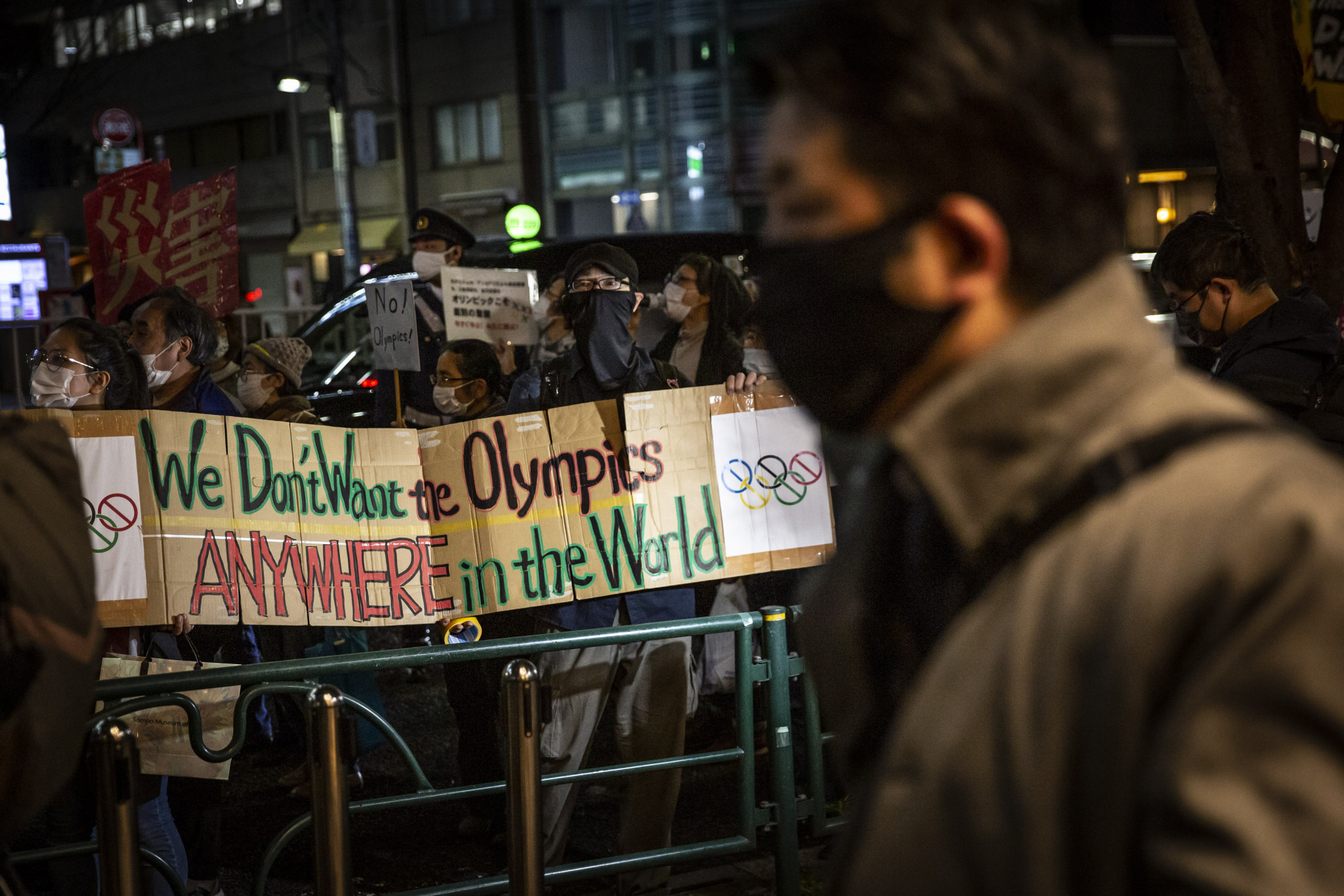 An anti-Games protest was staged in Tokyo to coincide with the start of the Olympic Torch Relay ©Getty Images
