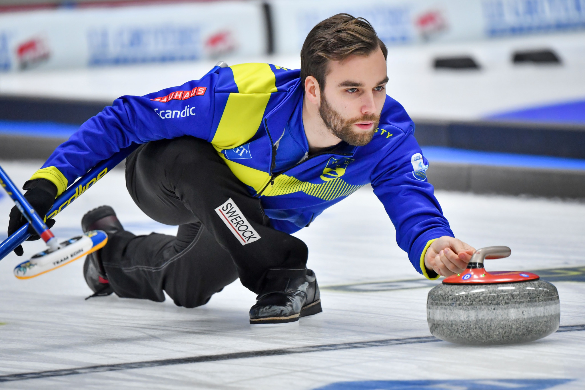 Oskar Eriksson teamed up with Anna Hasselborg to secure gold for Sweden at the 2019 World Mixed Doubles Curling Championship ©Getty Images