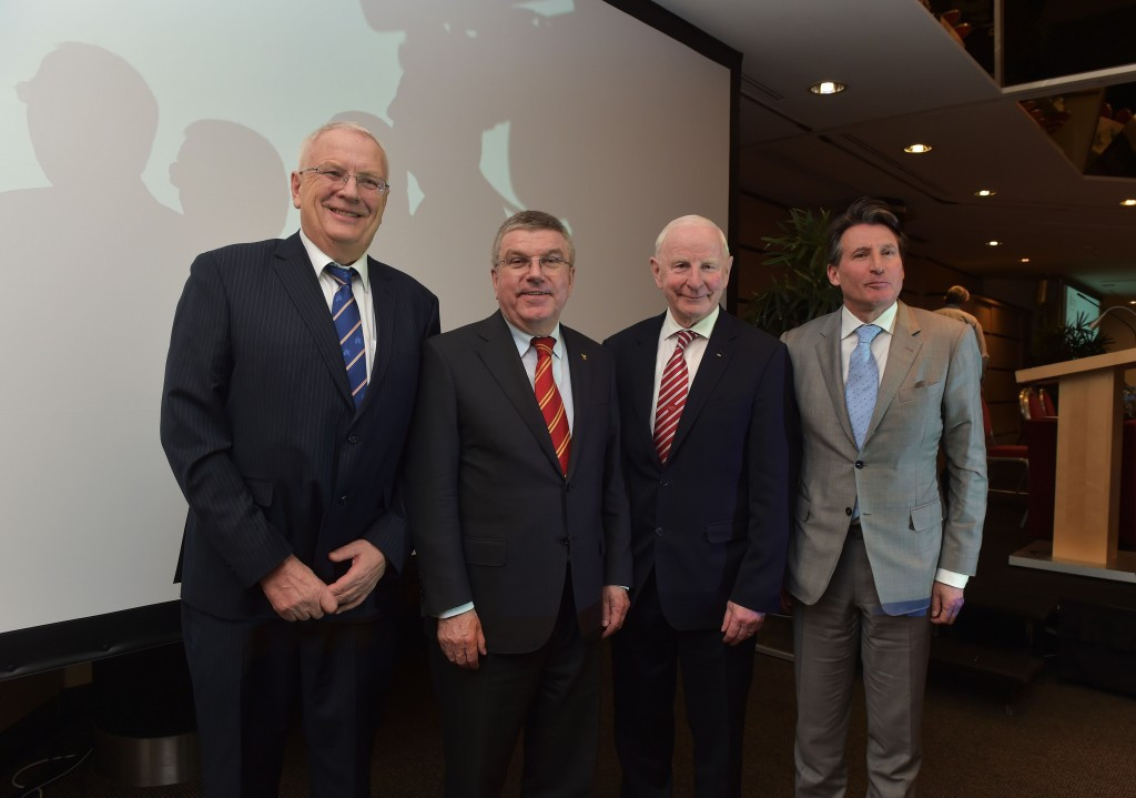 Patrick Hickey (second right) and Sebastian Coe (right) pictured with IOC President Thomas Bach (second left) and European Athletics head  European Athletics head, Svein Arne Hansen ©Getty Images