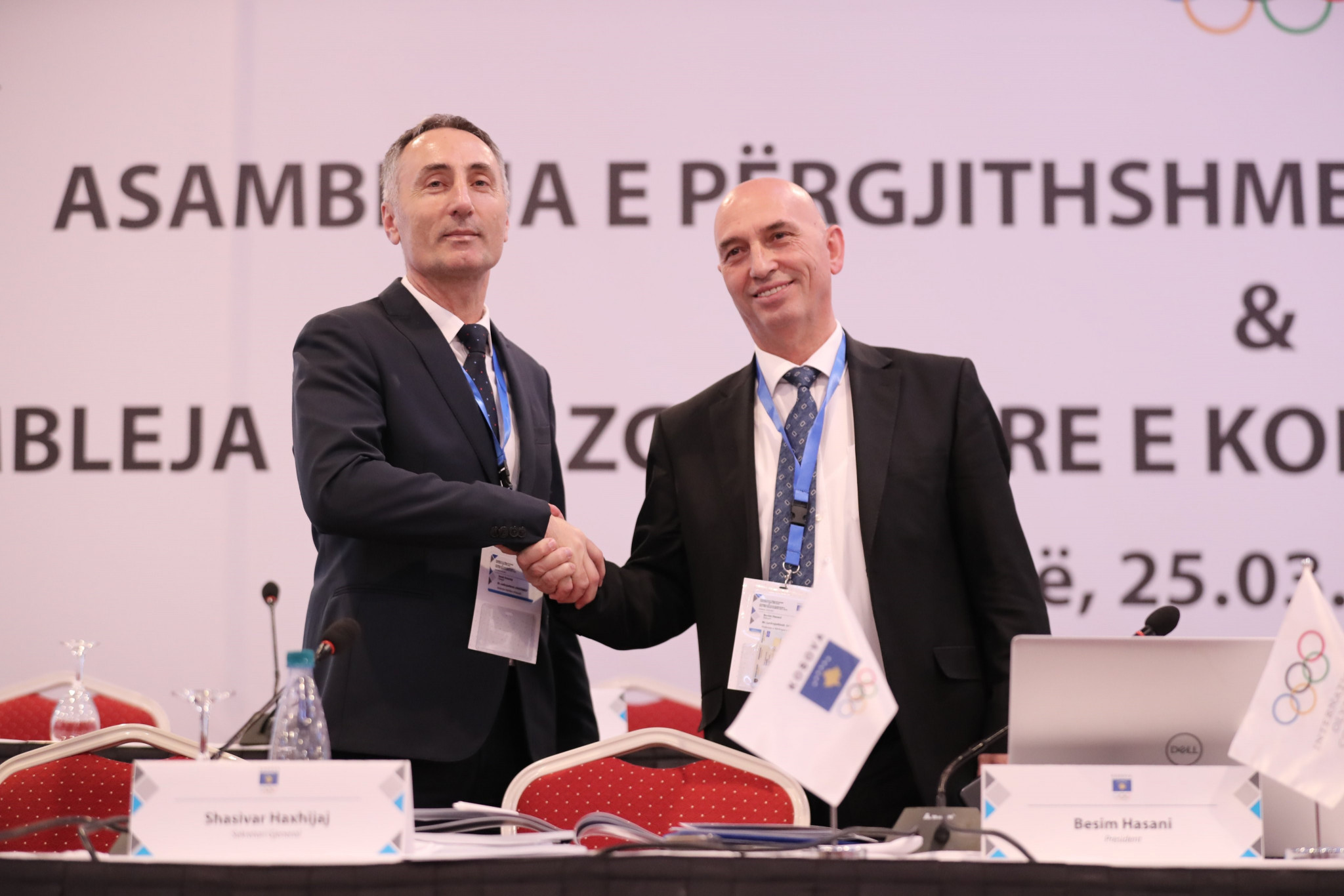 Ismet Krasniqi, left, has succeeded Besim Hasani as Kosovo Olympic Committee President ©Kosovo Olympic Committee