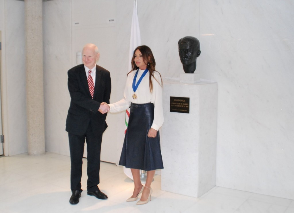 Azerbaijan First Lady awarded European Olympic Committees Order of Merit by Hickey