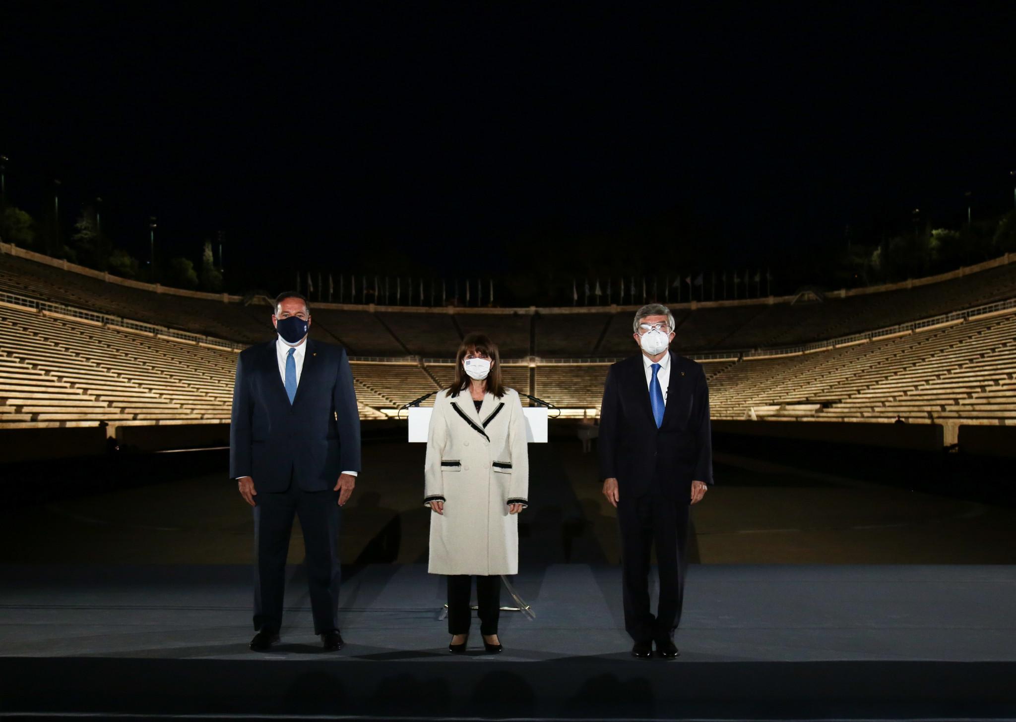 Thomas Bach has inaugurated the renewed lighting at the Panathinaiko Stadium in Athens ©HOC