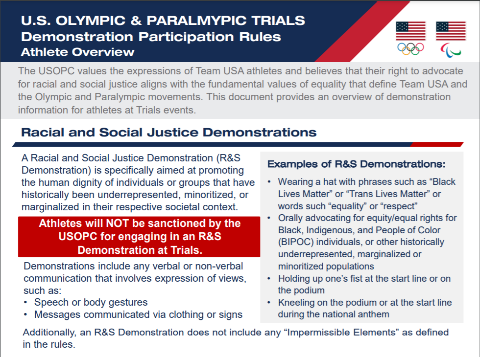 The USOPC has published examples of approved demonstrations for the upcoming US Trials ©USOPC