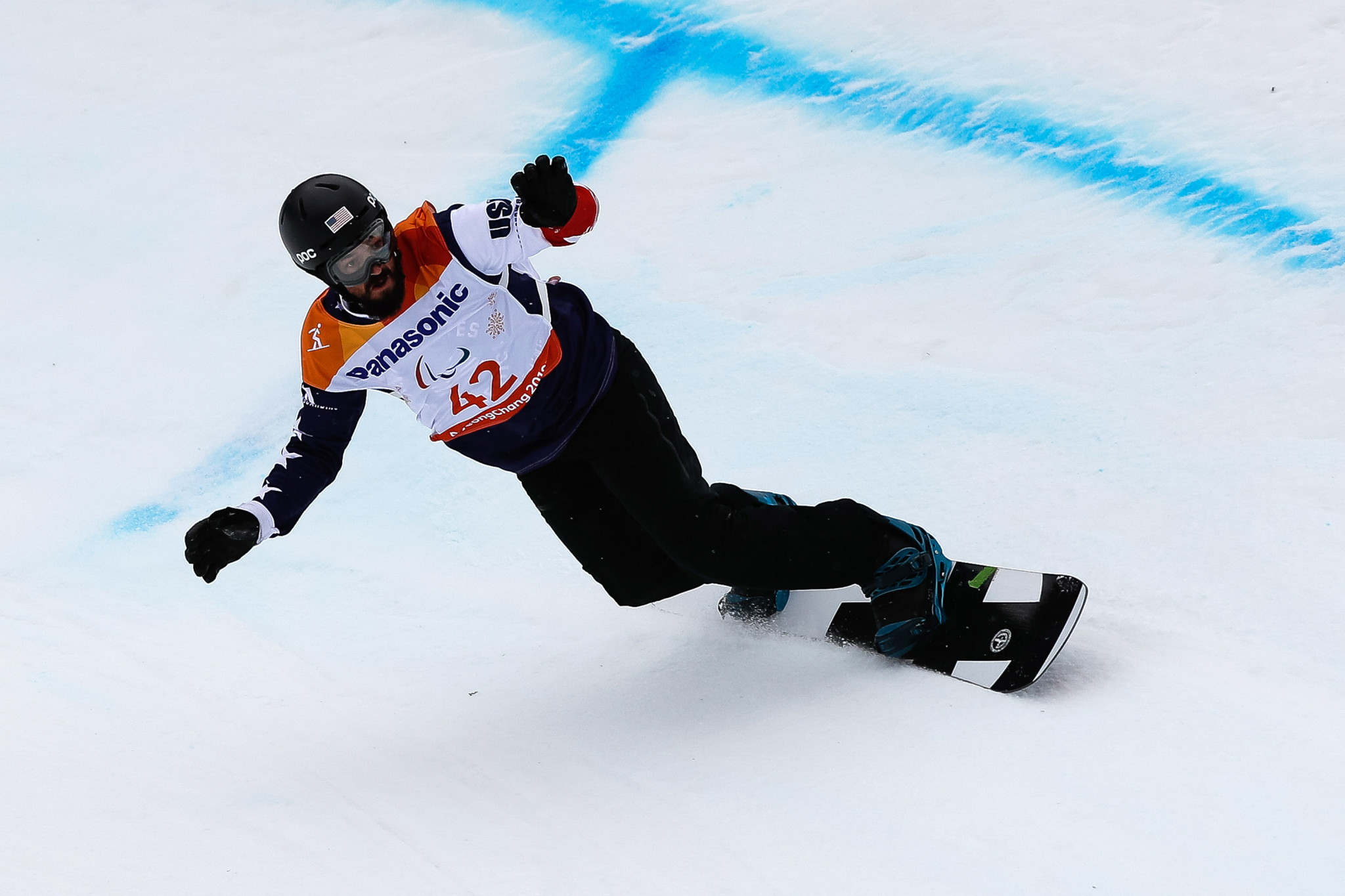 Keith Gabel secured one of two gold medals for the United States on the first of two days of racing at the World Para Snowboard World Cup Finals ©Getty Images