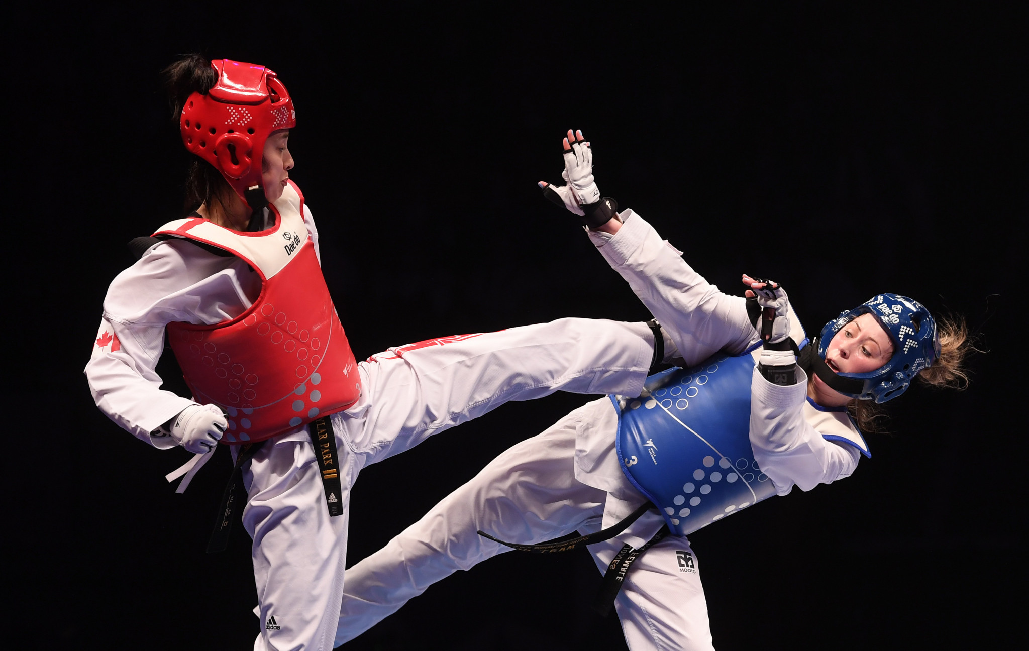 Taekwondo Canada said Guy Thibaut helped Skylar Park, left, prepare for Tokyo 2020 ©Getty Images