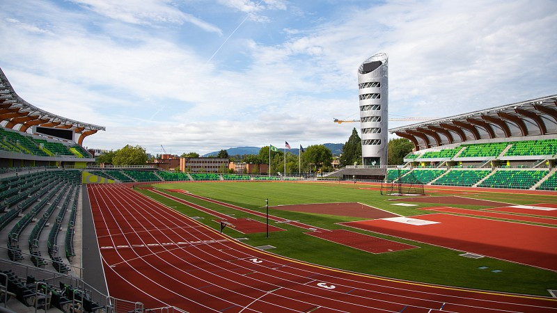 Hayward Field has hosted its first track meet since being upgraded to host the World Athletics Championships ©University of Oregon