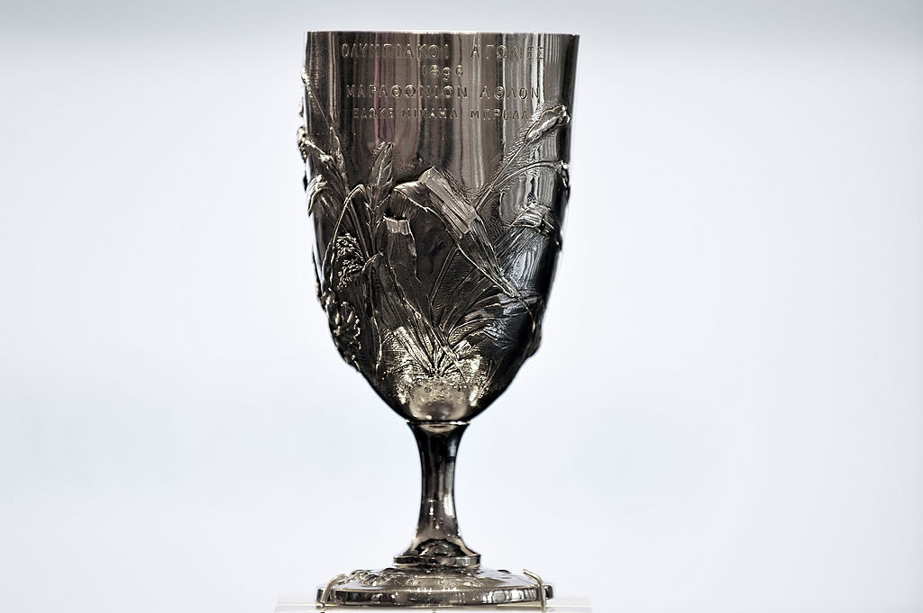 The silver cup, donated by the originator of the marathon, Michel Bréal, which Spyridon Louis earned as winner of the first Olympic marathon race in 1896 ©Getty Images