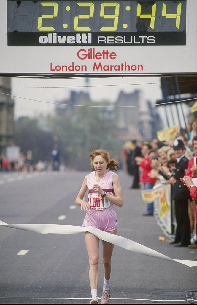 Britain's Joyce Smith wins her second successive victory at the London Marathon in 1982 - the event celebrated its 40th anniversary last Monday ©Getty Images