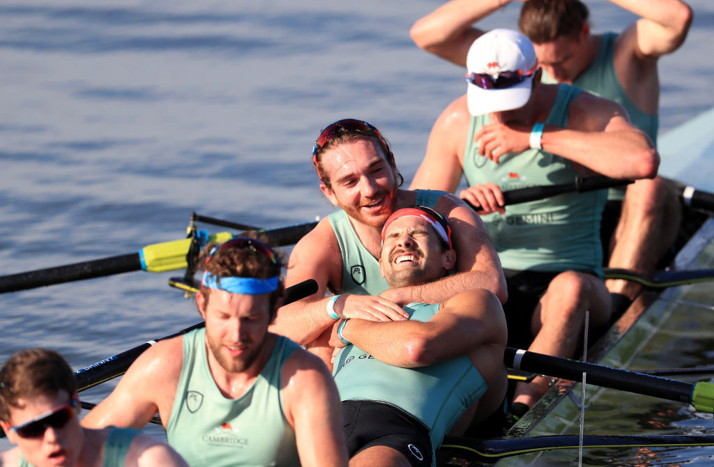 "Cambridge celebrate a ""home"" win in the 166th men's Boat Race ©Getty Images"