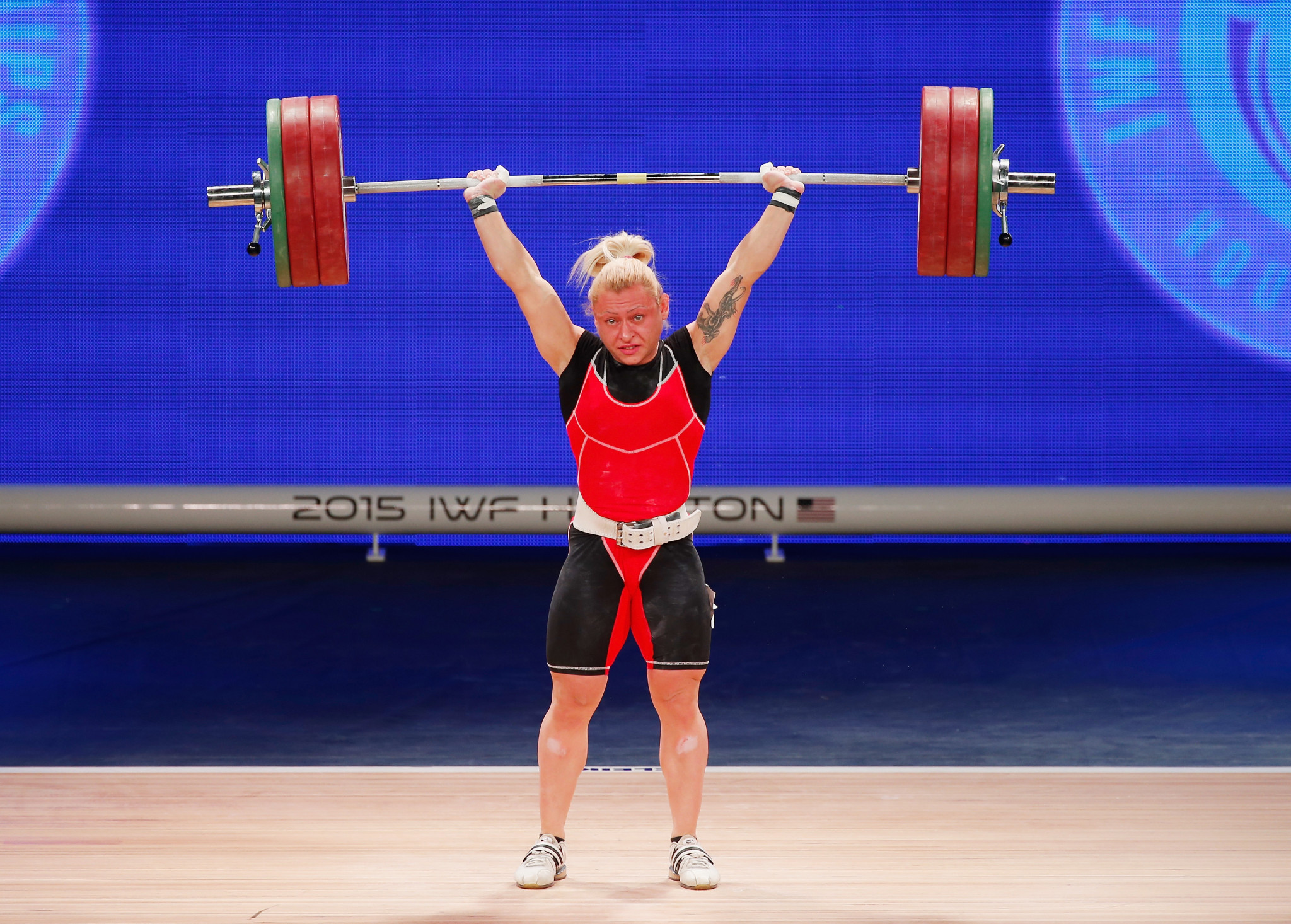 Boyanka Kostova of Azerbaijan won a closely fought women's 59 kilogram title on day three of the European Weightlifting Championships ©Getty Images