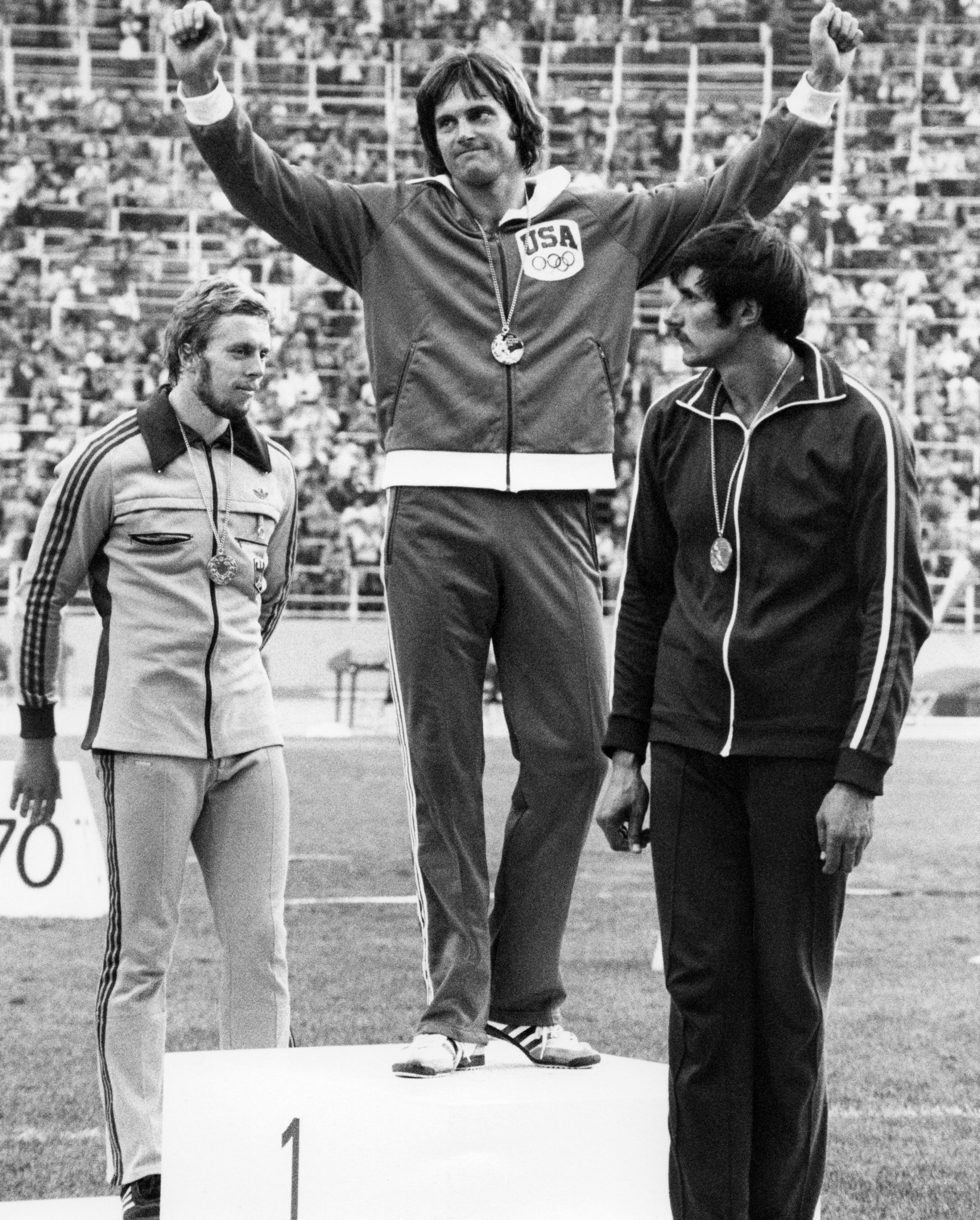 Bruce Jenner, centre, as he athlete was known at the time, captured decathlon gold at the Montreal 1976 Olympics ©Getty Images