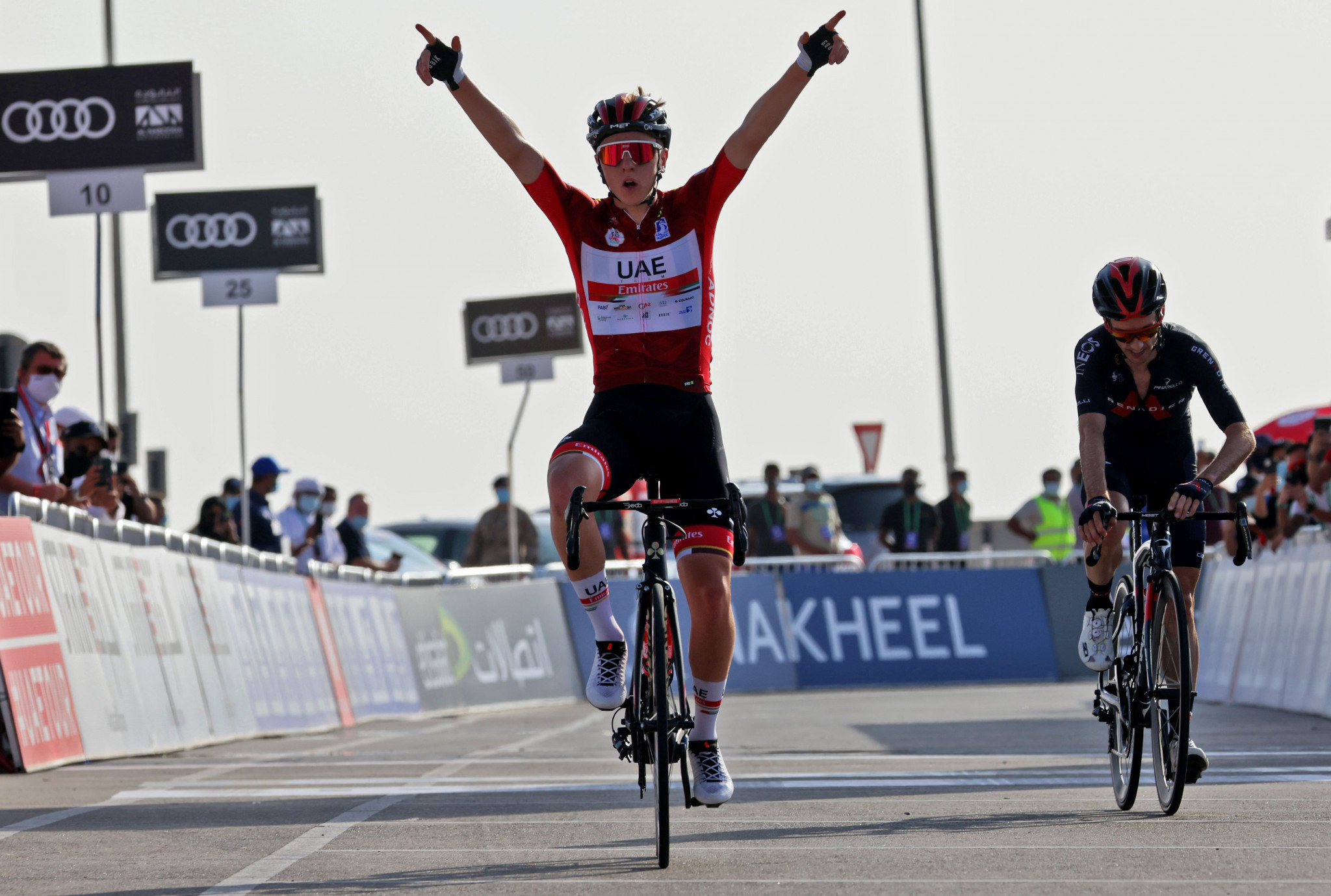 Pogačar edges Slovenian rival Roglič to win stage three of Tour of the Basque Country