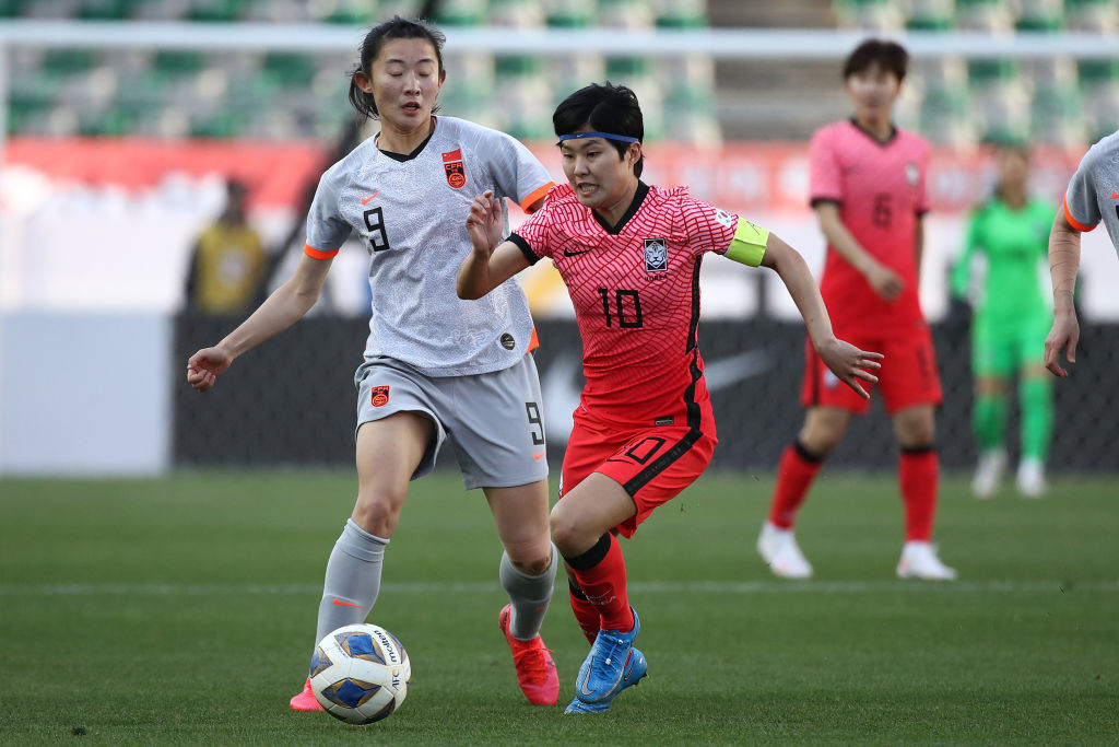 China and South Korea finally took to the pitch after the playoff was delayed by more than a year due to COVID-19 ©Getty Images