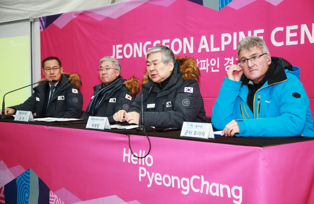 "Pyeongchang 2018 President Cho Yang-ho (second right) admitted it was a ""small miracle"" that the Jeongseon Alpine Centre is ready in time to host an FIS Alpine Skiing World Cup event ©Pyeongchang 2018"