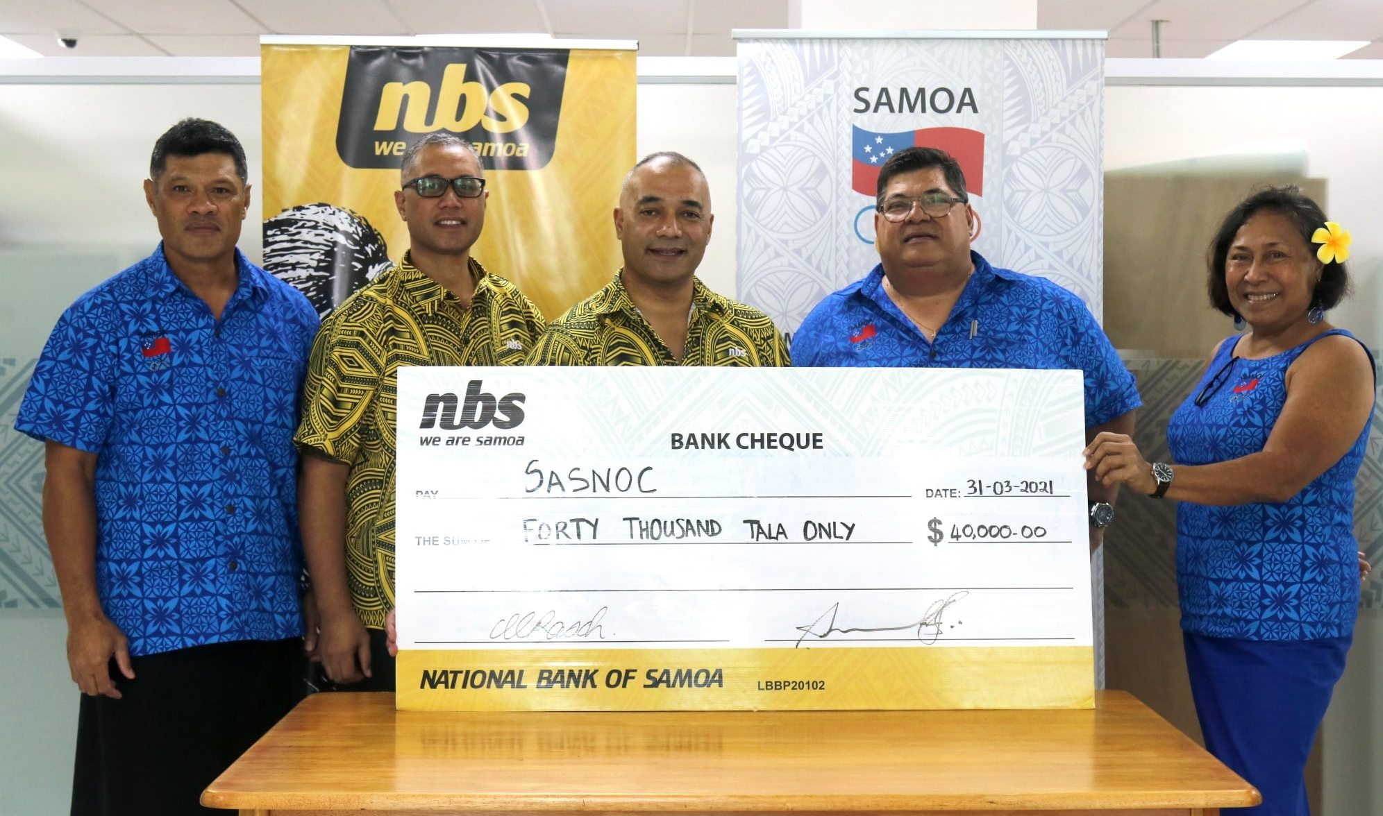 National Bank of Samoa gives SASNOC funding to aid athletes' Games preparations
