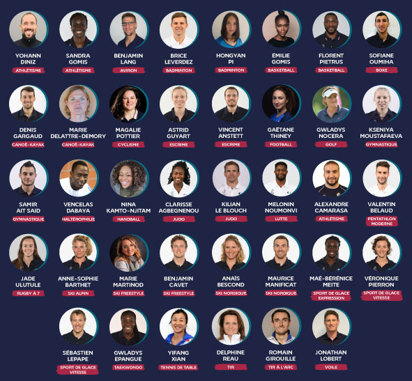 The 38 members of the newly-elected athletes commission of the French National Olympic and Sports Committee include a wide range of elite summer and winter Games competitors ©CNOSF