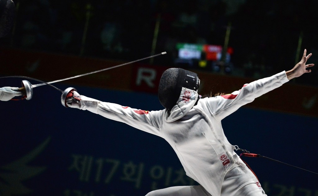 China's Anqi Xu is one of 64 fencers still in the running for the individual crown at the women's épée Fencing World Cup in Barcelona