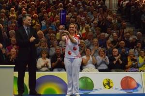 Falkner fights her way to third World Indoor Bowls singles title