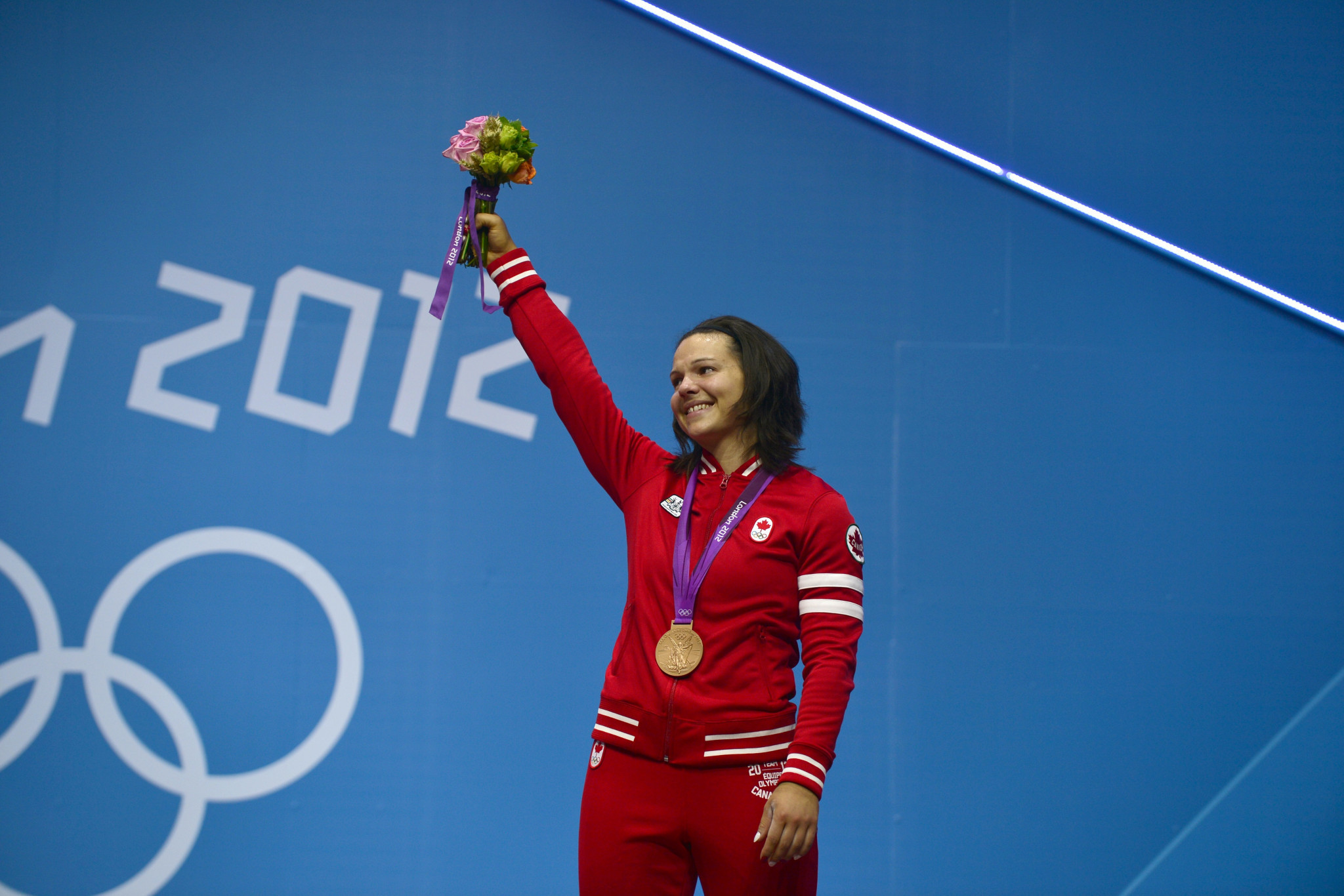 Christine Girard with her bronze medal at the London 2012 Olympics, which was subsequently upgraded to gold ©Getty Images