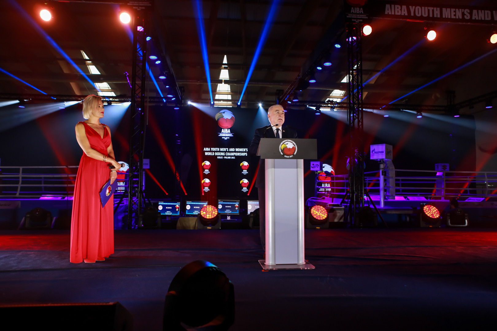 Poland's Sports Minister  Anna Krupka, left, and Polish Boxing Association President Grzegorz Nowaczek, right, were also among to take part in the Opening Ceremony ©AIBA