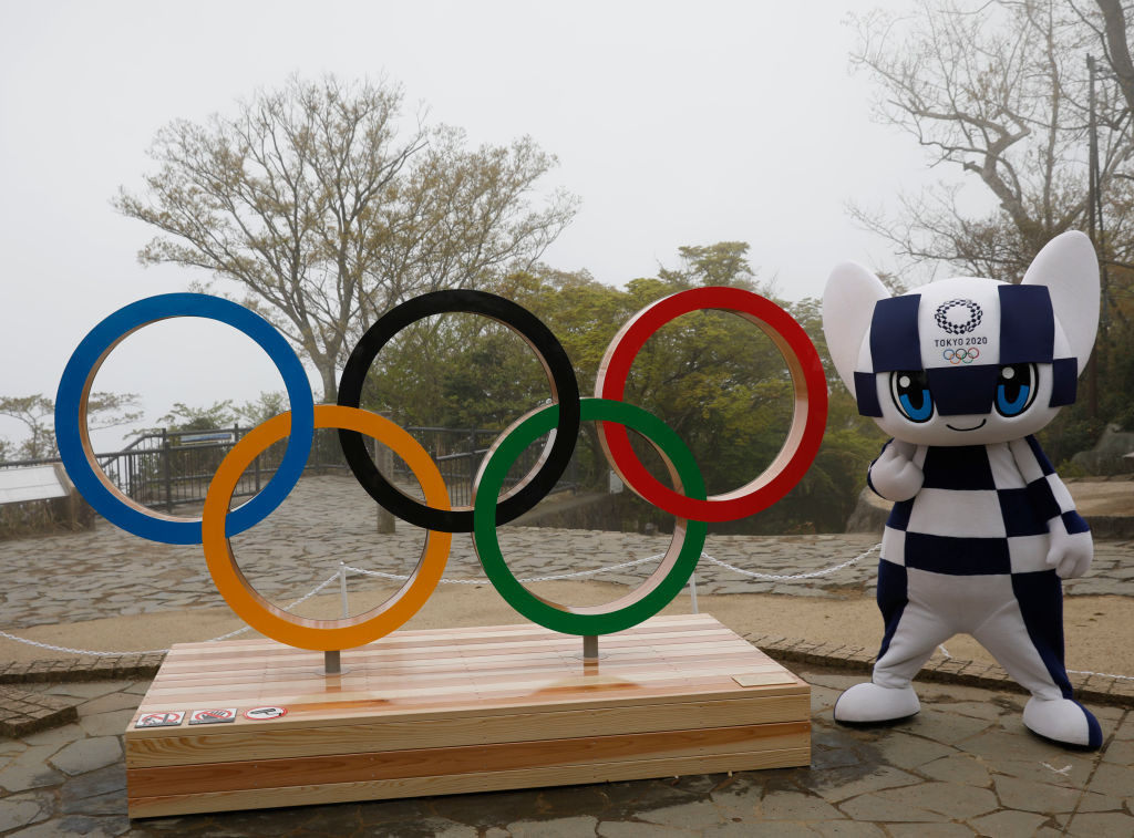 Two-metre high Olympic Rings were unveiled  atop Mount Takao to mark 100 days to go ©Getty Images