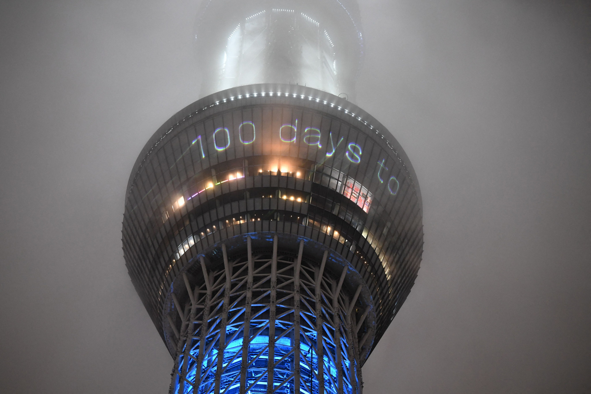 The 100 days countdown until the start of the Tokyo 2020 Olympic Games has been displayed on the illuminated Tokyo Skytree ©Getty Images