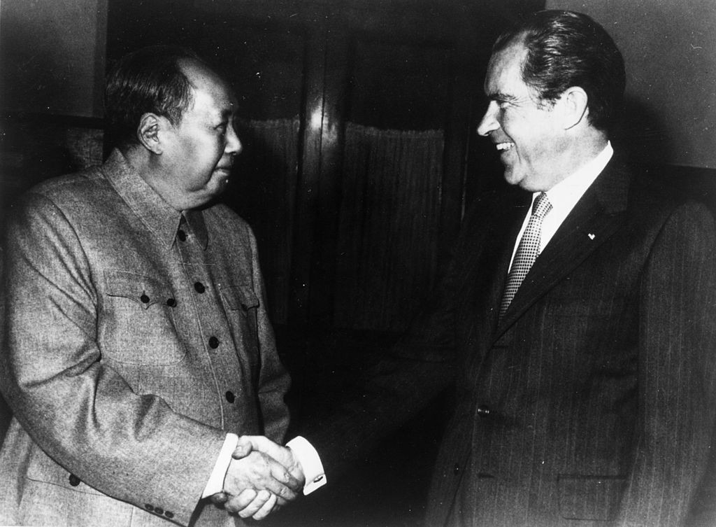 Then US President Richard Nixon, right, and Chinese leader Mao Zedong held a rare meeting in Beijing in 1972 ©Getty Images