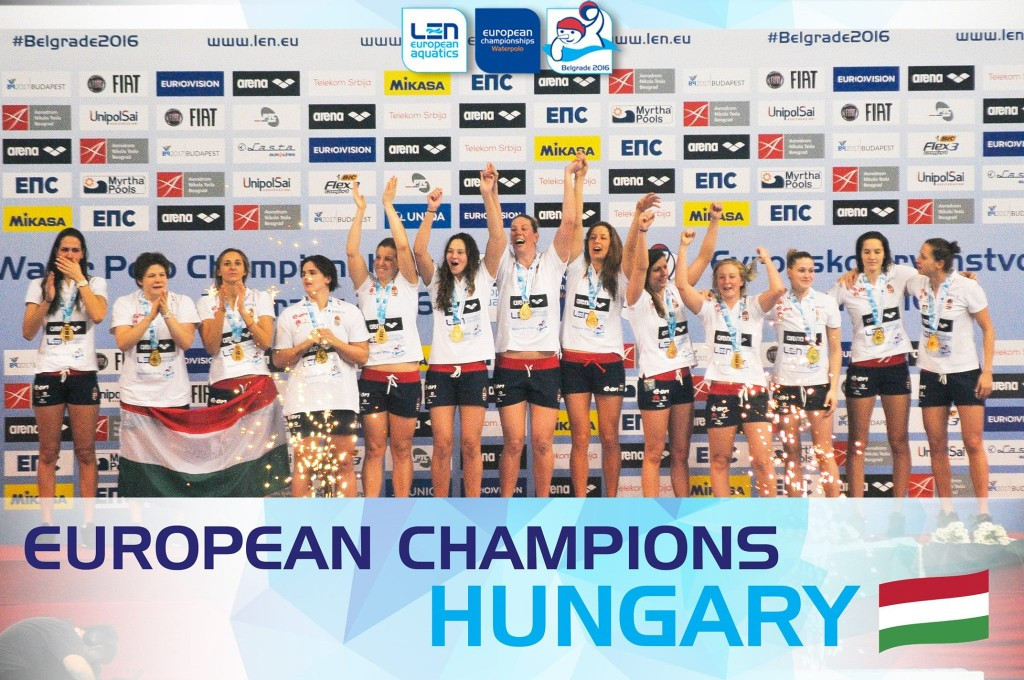 Hungary celebrate after being crowned winners of the women's European Water Polo Championships ©Belgrade 2016/Facebook