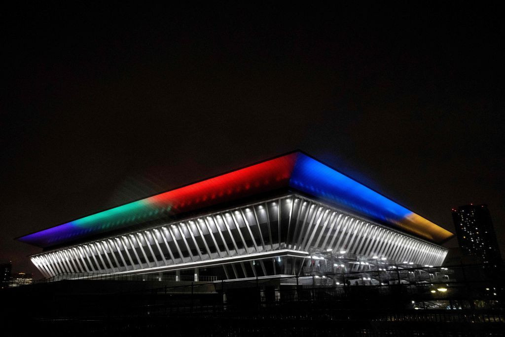 Organisers lit up Olympic venues in the colours of the five rings to mark the milestone ©Getty Images