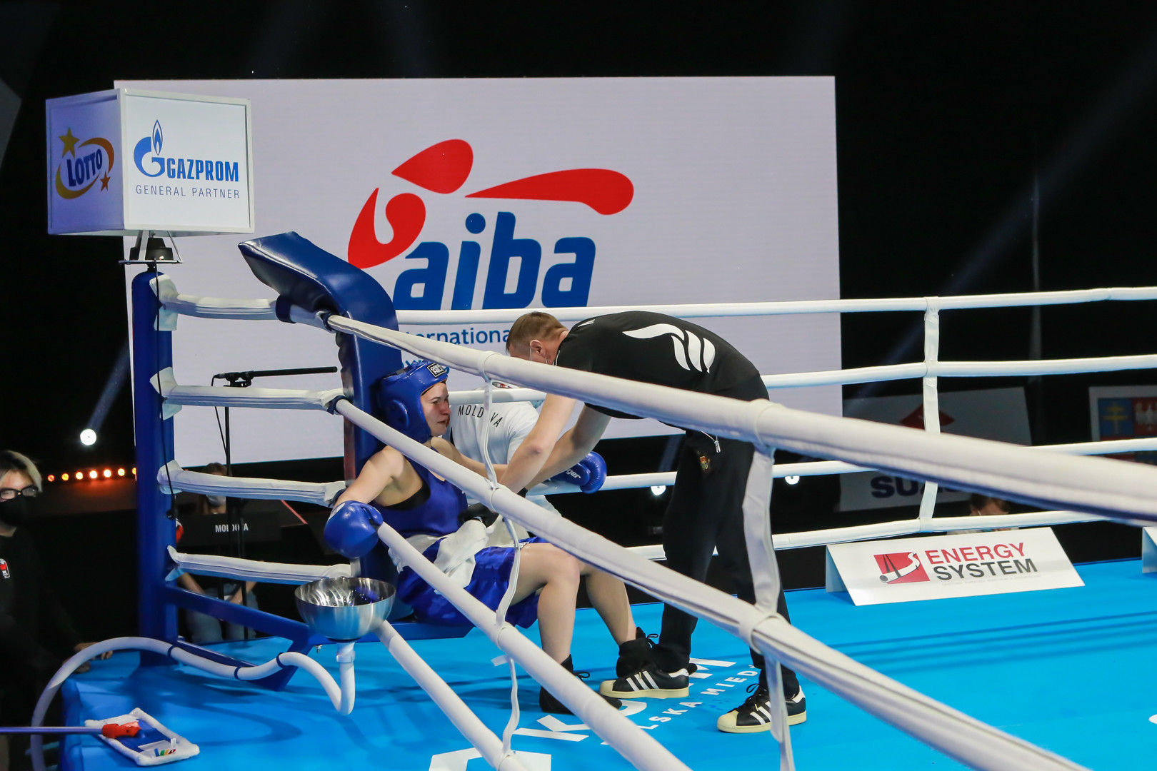 Trainers are on hand to provide encouragement to the young boxers ©AIBA