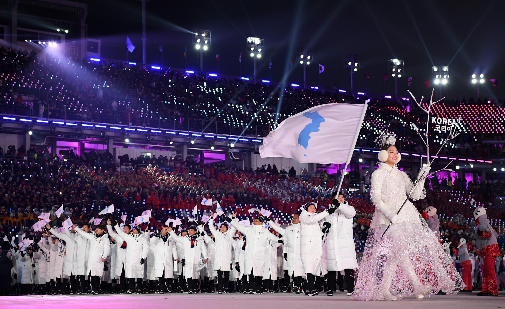 O delegație coreeană unificată a mărșăluit la ceremonia de deschidere a PyeongChang 2018 © Getty Images