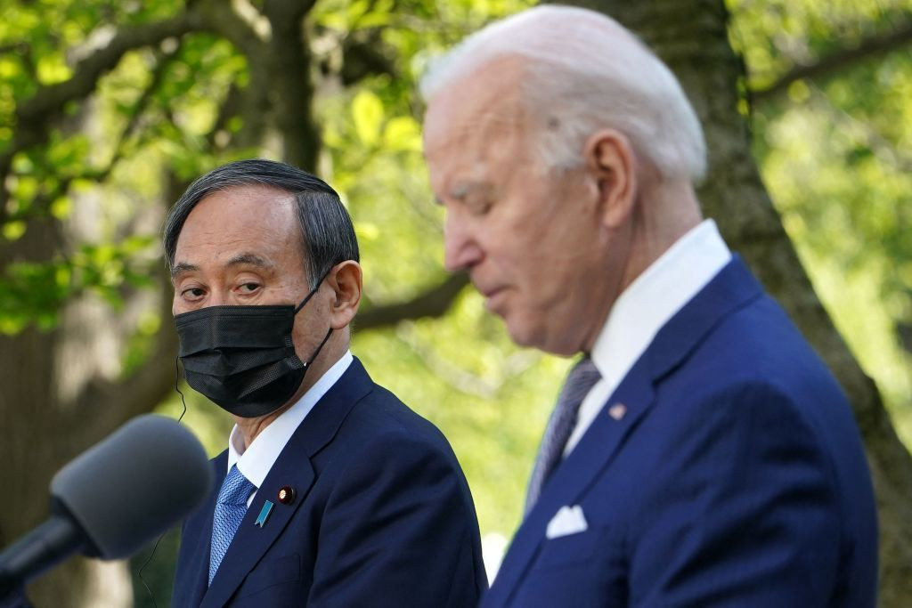 Yoshihide Suga is the first head of state to visit the White House under Joe Biden's administration ©Getty Images