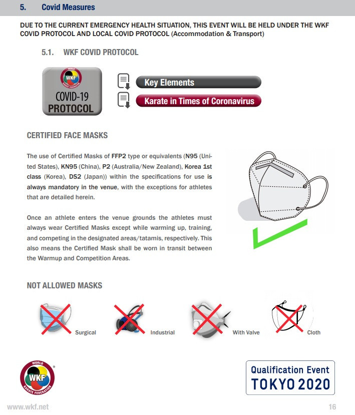 Participants will be asked to wear a certified mask when inside the venue ©WKF