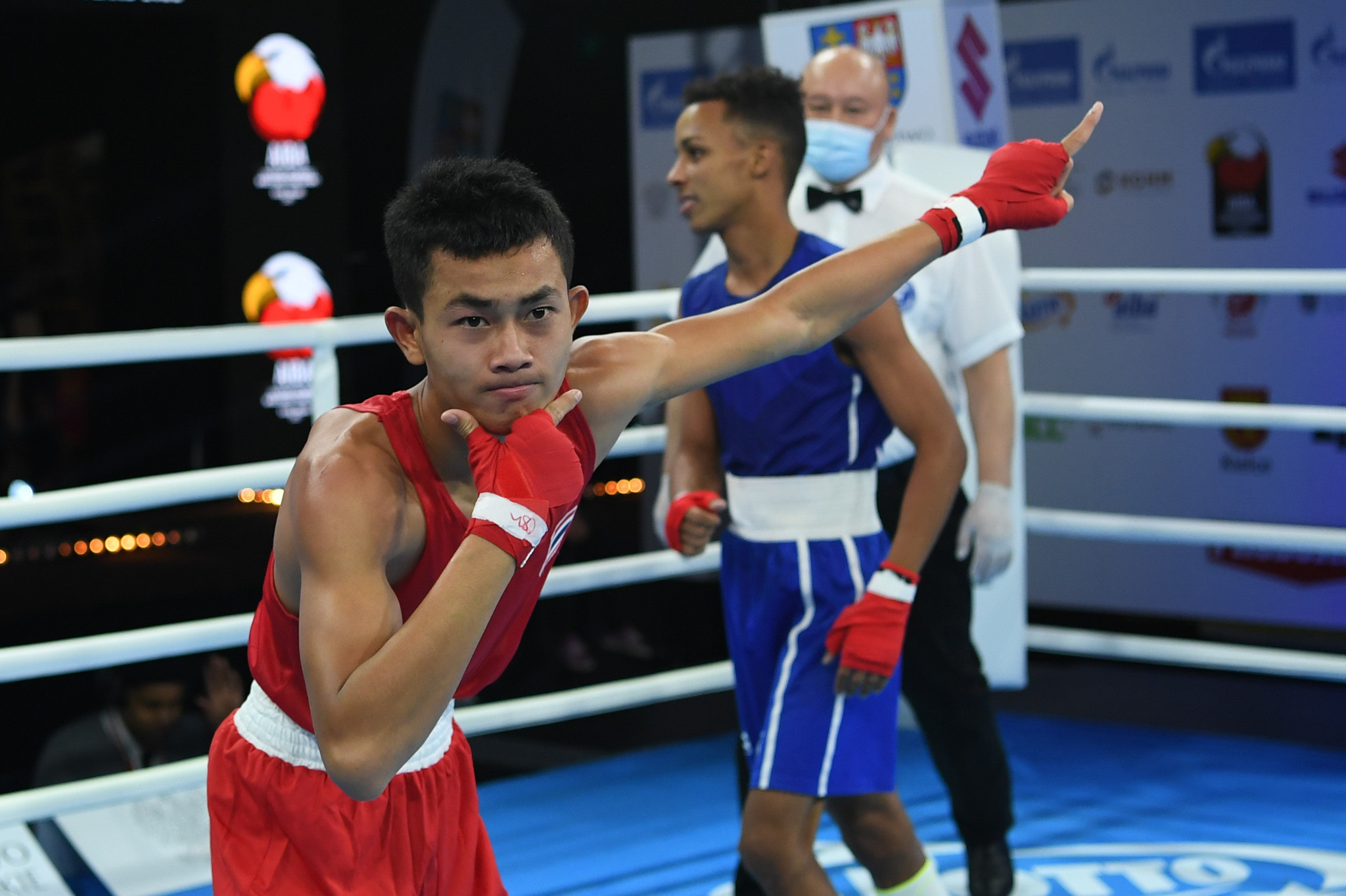A fighter strikes a thoughtful pose in the ring in Kielce ©AIBA