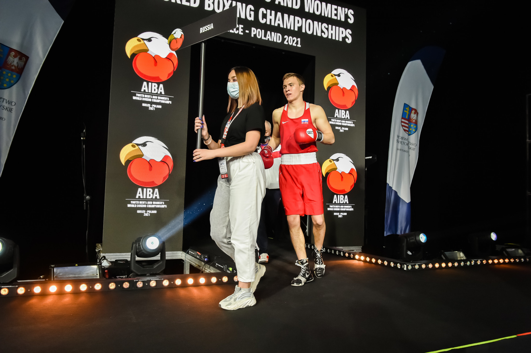 A fighter from Russia makes his entrance into the ring ©AIBA