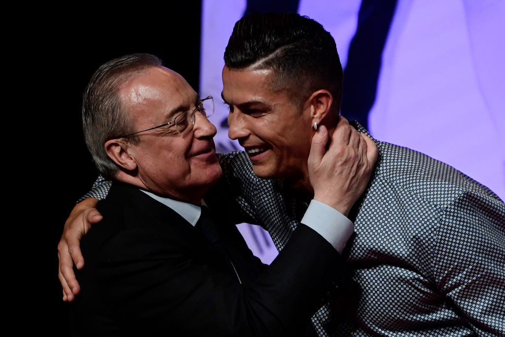 Real Madrid's President Florentino Perez, chairman of the proposed new European Super League, embraces his former player Cristiano Ronaldo at the 2019 Marca awards in Madrid ©Getty Images