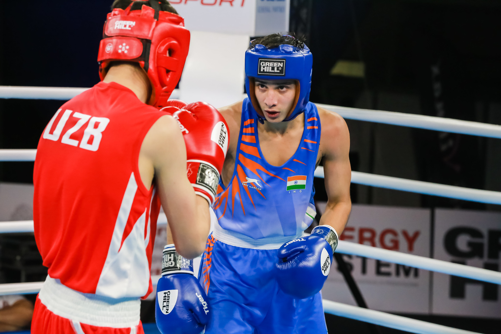 Sachin, in blue, joined the Indian medal rush in the men's 56kg bantamweight category ©AIBA