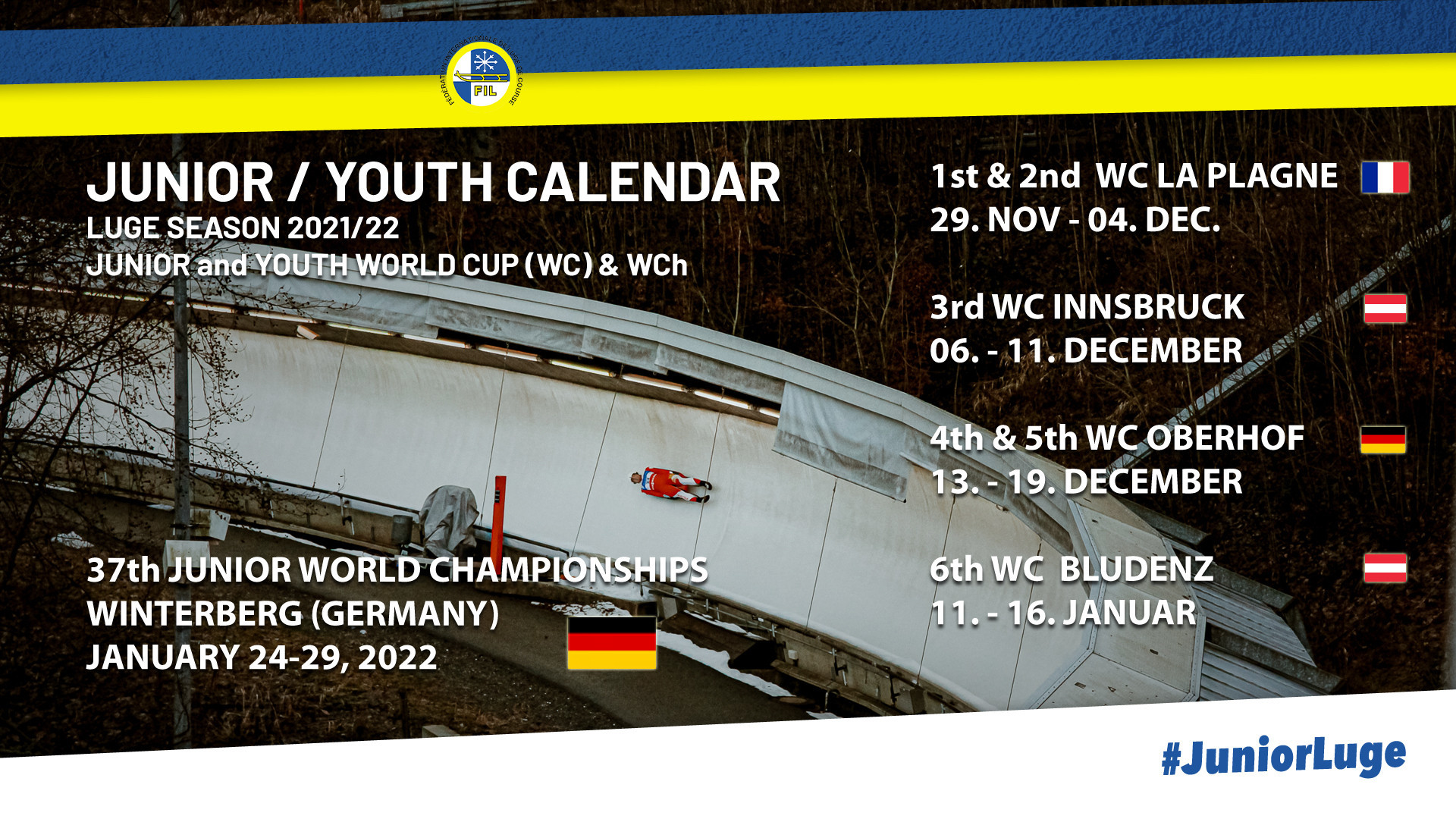Six Junior and Youth World Cup stops have been scheduled by the International Luge Federation ©FIL
