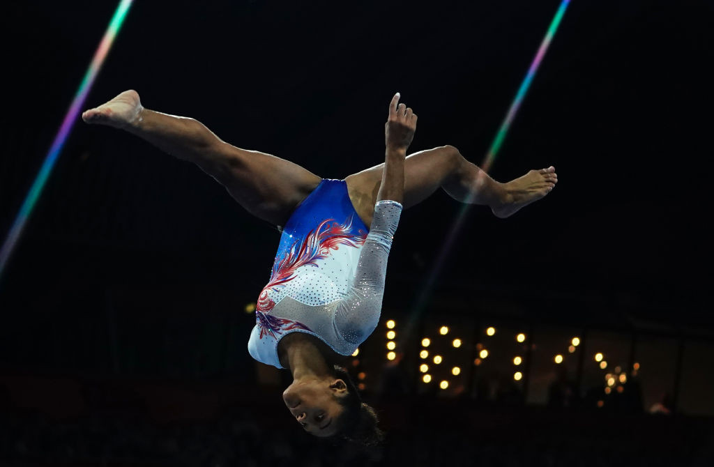 Melanie de Jesus dos Santos of France has opted to focus on the uneven bars and will not defend her all-around title ©Getty Images