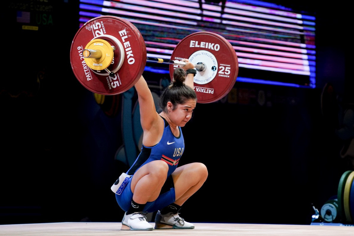 Jourdan Delacruz has excelled after dropping down a weight, and was victorious at 49kg with lifts that would have won 55kg gold as well ©USA Weightlifting
