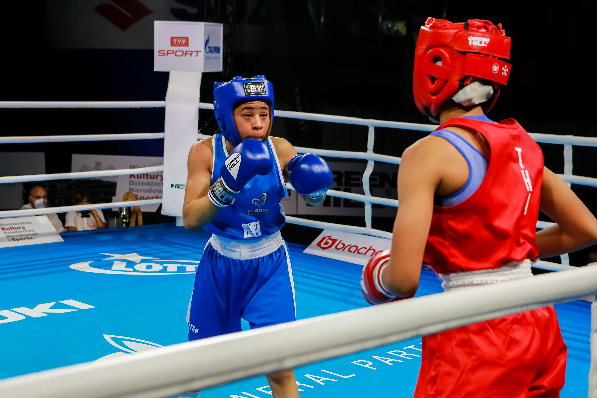 France's Sthelyne Grosy, in blue, reached the women's featherweight final in convincing fashion ©AIBA