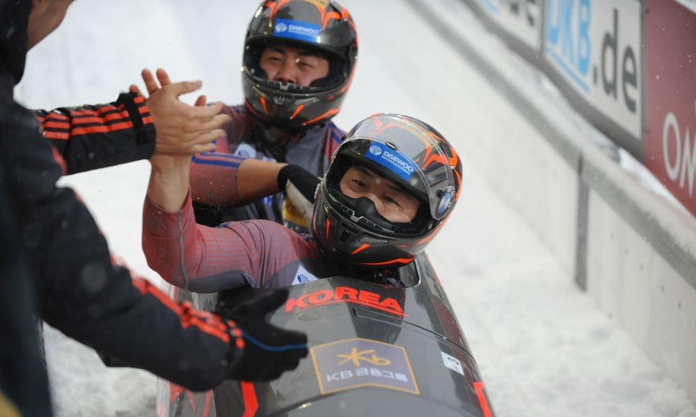 Switzerland and South Korea's two-man bobsleigh teams finish joint first in closest-ever World Cup result