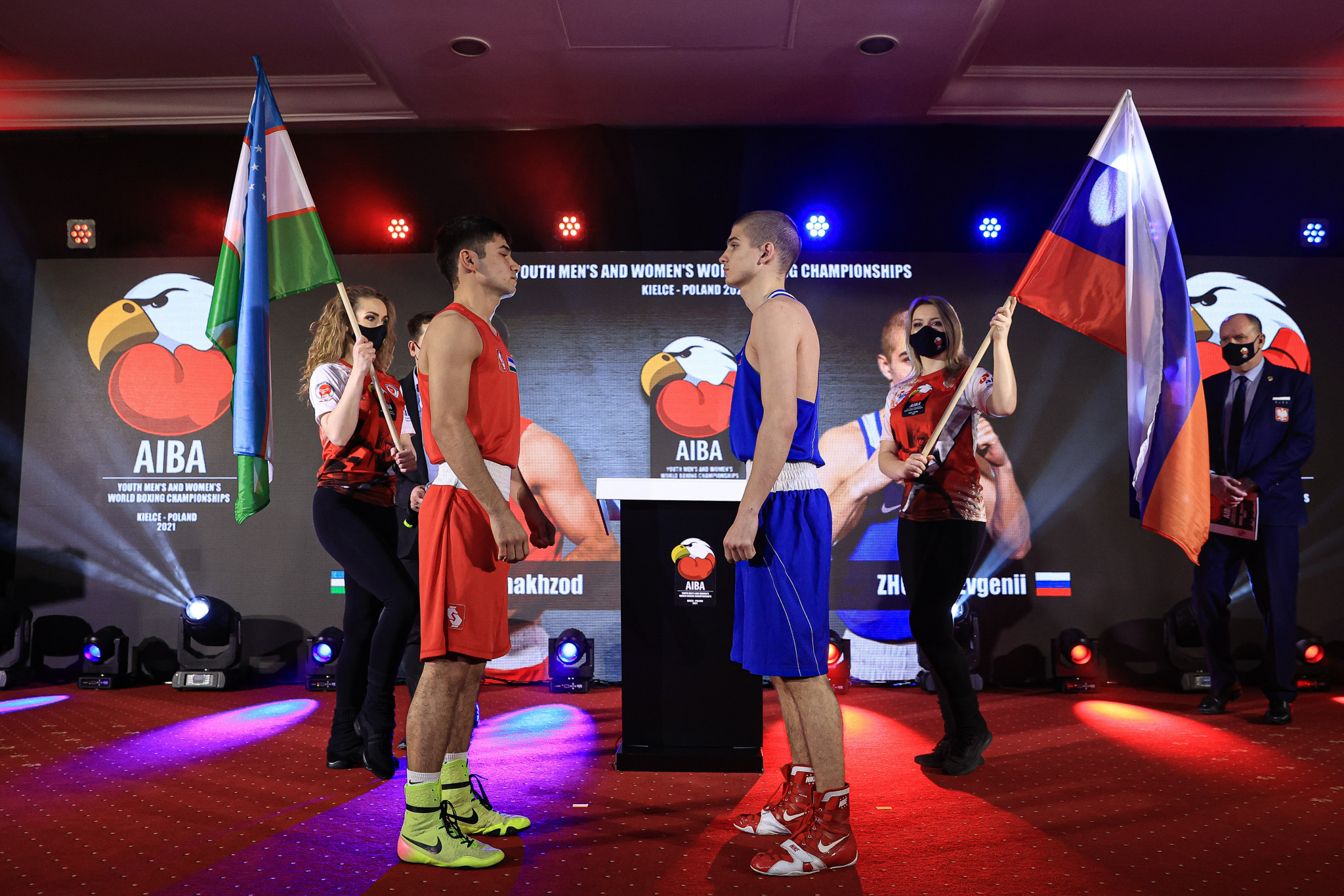 Boxers faced each other at the weigh in ceremony ahead of the day's finals ©AIBA